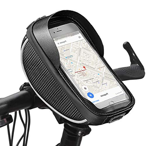 Derbway Bike Frame Bag, Bike Touch Screen Waterproof Bag, Cycling Handlebars, Front Top Tube Bags,for Phone Holder pouch,Storage Pouch,Pannier, suit Below 6 inch Smart Phone