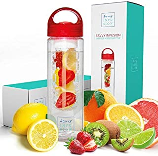 Savvy Infusion Water Bottle – 24 or 32 Ounce – Featuring Unique Leak-Proof..