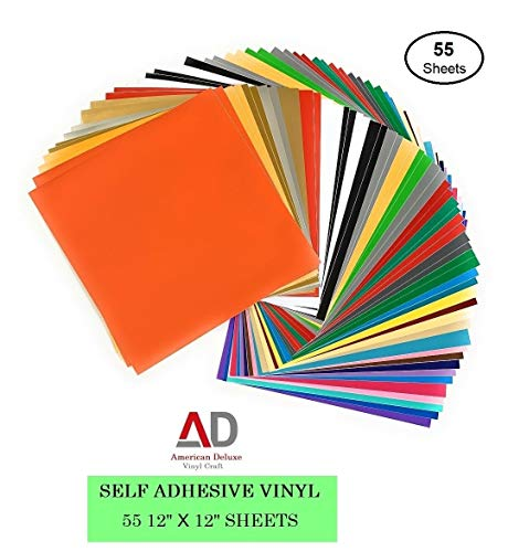 """Adhesive Vinyl Sheets - 55 Pack of 12"""" x 12"""" in 37 Assorted Colors (Glossy, Matte), Premium Outdoor Permanent Self Adhesive Vinyl Sheets for Cricut, Silhouette Cameo Printer, Craft Cutter, Decal, Sign"""