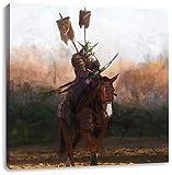 Pixxprint Samurai Krieger auf einem Pferd als Leinwandbild