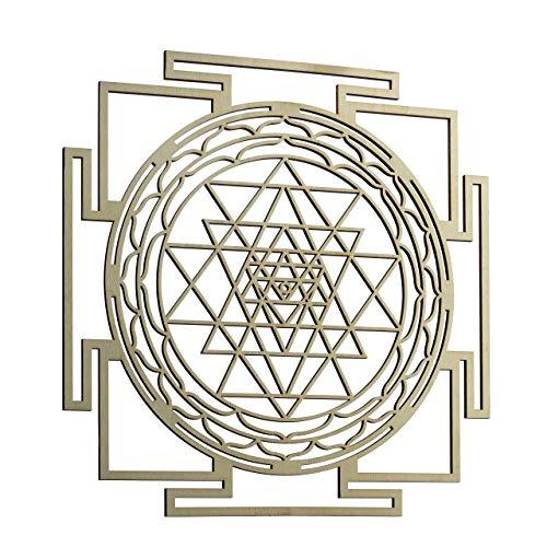 "ZenVizion 13.5"" Sri Yantra Wall Art Mandala, Sacred Geometry Home Decor, Meditation Symbol, Yoga Hanging Artwork, Laser Cut Wooden Wall Sculpture, Wealth, Prosperity, Abundance, Gift Purpose"