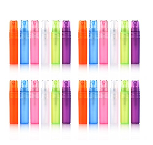 Elfenstal- 24pcs 5ml 1/6OZ Atomizer Empty Matte Plastic bottle Spray Refillable Fragrance Perfume Scent Sample Bottle Clean Cloth for Travel Party Makeup Tool free 3ml Pipette