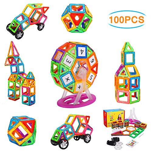 NextX 100 Blocchi Magnetici Giocattolo - Set di 100 Pezzi per Costruzioni 3D - Puzzle Educativo per Piccoli Ingegneri - Regalo Perfetto per Bambini 3+ Anni