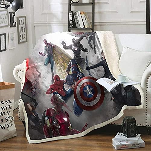 PHUAN Manta De Franela De Superhéroe 3D Marvel para Niños Y Adultos, The Avengers Hulk Capitán América Mantas De Siesta De Dibujos Animados Manta De Lana Suave Y Cálida para Niños