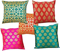 VIREO Silk Cushion Cover with Zipper (12X12 inch) - Set of 5; Multicolour