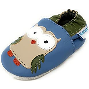 MiniFeet Soft Leather Baby Shoes, Blue Owl 6-12 Months:Amedama