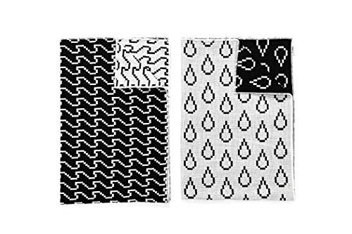 Areaware BITMAP TEXTILES - 2 Geschirrtücher aus Baumwolle | Susan Kare Schwarz/Weiß | Style: Wellen&Tropfen