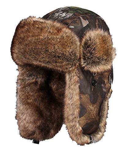 Insun Unisexo Gorros de Aviador Invierno Trooper Cazador de Nieve Sombrero Marrón Camuflaje XL Circunferencia del Sombrero 60cm