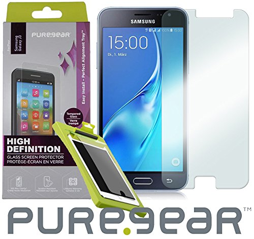 Galaxy AMP Prime Tempered Glass, PureGear Puretek 9H .45mm Japanese Tempered Glass [with Easy Install Tray] for Samsung Galaxy AMP PRIME, Cricket SM-J320A, AT&T GO Phone J320A