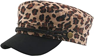 2019 Womens Hats Caps Beret Cap Winter for Women Wool Men's Leopard Vintage Flat Top Navy Hat Street Influx (Color : Khaki, Size : 56-58CM)
