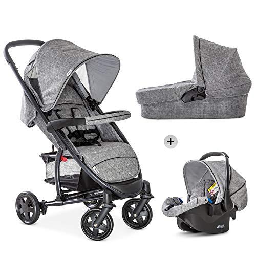 Hauck Kombi Kinderwagen Malibu 4 Trio Set / für Babys ab Geburt / Baby Wanne inkl. Matratze / Reise System mit Autositz / Buggy Sportsitz mit Liegeposition / Kompakt Faltbar / XL Korb / Grau