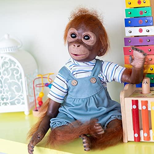 Pinky Reborn 21 Pulgadas 52cm Monkey Baby Dolls Hecho a Mano Renacer Bebé Mono Silicona Suave Vinilo Realista Reborn Doll Mejor Regalo para niños Navidad (A)