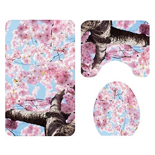 L.W.S Alfombra de baño Ducha Sakura Patrón de Piso Matera de baño Asiento de Inodoro Asiento de Tres Piezas Alfombra de Tres Piezas Absorción de Agua no se desvanece Versátil Cómodo El tapete de baño