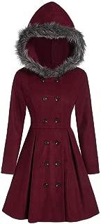 Dunacifa Womens Winter Pea Coats Vintage Plus Size Double Breasted Fur Hooded Long Coat Warm Outwear