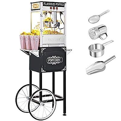 ROVSUN Popcorn Machine w/Cart & Wheels, 8 Ounce Kettle Popcorn Maker w/Single Door, Popcorn Scoop, Oil Spoon & 3 Popcorn Cups, 850W