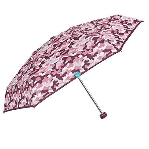 Taschenschirm Regenschirm Kompakt mit Camouflage Muster - Tarndruck Minischirm Super Klein Klappbar Mädchen - Damenschirm Schirm Etui mit Netzeinsätzen - Durchmesser 90 cm - Perletti (Tarnung Rosa)