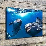 sjkkad Unterwasser Delfine Poster Leinwand Malerei Für
