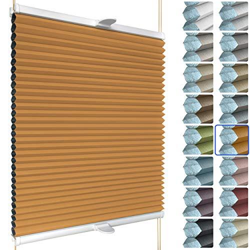 SchattenFreude Waben-Plissee für Fenster | 100% verdunkelnd/Blackout | Mit Klemm-Haltern | Klemmfix ohne Bohren | Orange (Weiße Rückseite), Breite: 30cm x Höhe: 100cm