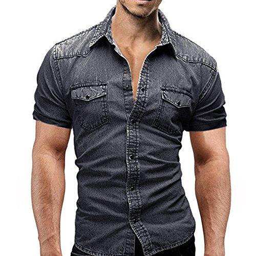 AmyGline Hemden Herren Denim Hemd Kurzarm Slim Fit Knopf Tasche T-Shirt Top Kurzarmhemd Jeanshemd Bluse T Shirt Freizeithemd Sommerhemd