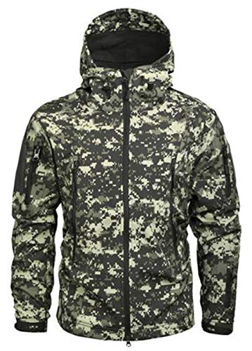 Taktische Militärjacke, warm, Fleece, langärmlig, mit Kapuze, Camouflage, Softshell, wasserdicht, für Camping, Jagd, Angeln, Outdoor, mit Kapuze Gr. XXL, ACU