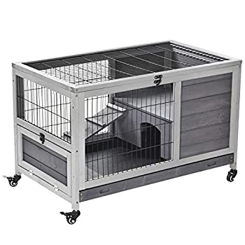 PawHut Wooden Indoor Rabbit Hutch Elevated Cage Habitat with Enclosed Run with Wheels Ideal for Rabbits and Guinea Pigs