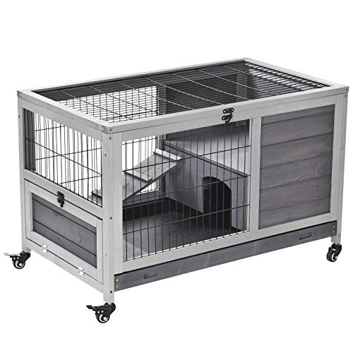 PawHut Wooden Indoor Rabbit Hutch Elevated Cage Habitat with Enclosed Run with Wheels, Ideal for Rabbits and Guinea Pigs