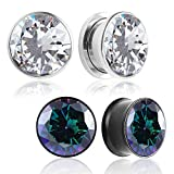 Casvort 4 PCS (2 Pairs) New Crystals Ear Gauges Plugs Ear Tunnels Stretcher Earring Studs Body Piercing Jewelry 00g (10mm)