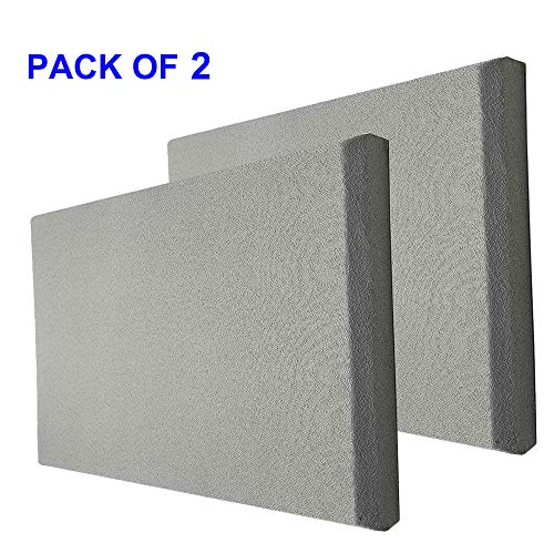 TroyStudio Acoustic Panel - Sound Absorber - Fiber Glass - Multiple Colors & Sizes - 400 X 300 X 28 mm (Pack of 2) (Gray)