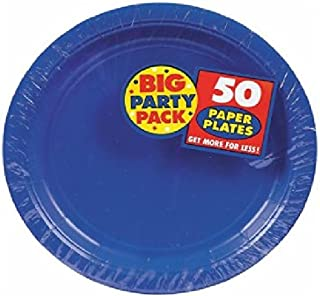 Amscan AMI 630732.105 Plastic Lunch Plates, 10.5-Inch, Bright Royal Blue ( pack of 50 )