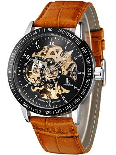 Alienwork IK Herren Damen mechanische Automatik-Uhr Silber mit Lederarmband braun schwarz Skelett
