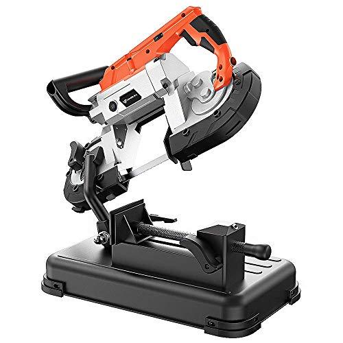 Anbull R2103 - Sega a nastro in metallo con faretto LED, sega a nastro elettrico 1100 W/230 V, 0,7 – 2,4 m/s, regolabile 0 – 45 °, sega metallica con base rimovibile, banco da lavoro in acciaio legato