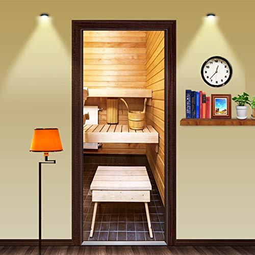 Deur Sticker 3D Sauna Verwijderbare Zelfklevende Waterdichte Vinyl Photo Deur Muren 77x200cm voor Slaapkamer Huis Deur Woonkamer Kantoordecoratie