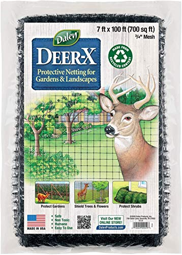 Gardeneer by Dalen Deer X Protective Netting for Gardens and Landscapes - 7′ x 100′ - Strong and Durable 3/4″ Polypropylene Mesh with UV Inhibitors.
