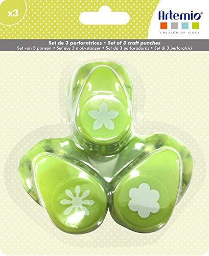 Artemio Set 3 Stanzer 5/8 Zoll Blumen, Grün, 13,5 x 5 x 16,5 cm
