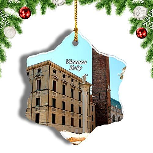 Weekino Italia Vicenza Ciondolo Natalizio Souvenir di Viaggio per Ornamento di Natale Ceramica di Design a Doppia Faccia da 3 Pollici