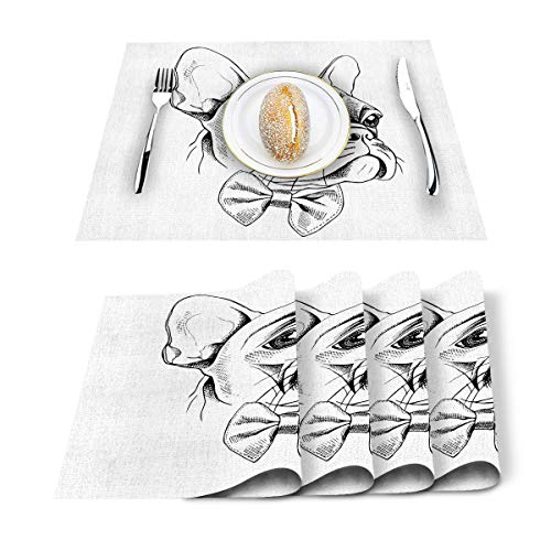 Hostline Placemats Heat-Resistant Placemats Stain Resistant Anti-Skid Washable Table Mats Woven Placemats,French Bulldog Set of 6