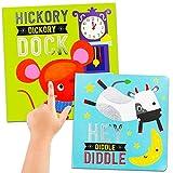 Libro de rimas para guardería, tacto y tacto, juego de 2 libros de pizarra para bebés y niños con base de nogal y hola