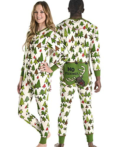 LazyOne Flapjack, Matching One-Piece Pajamas with Drop Seat, Adult XS–XXL (No Peeking!, MEDIUM)