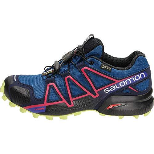 Salomon Women's Speedcross 4 GTX Trail Running Shoes Waterproof, Blue (Poseidon/Virtual Pink/Sunny Lime), 4 UK (36 2/3 EU)