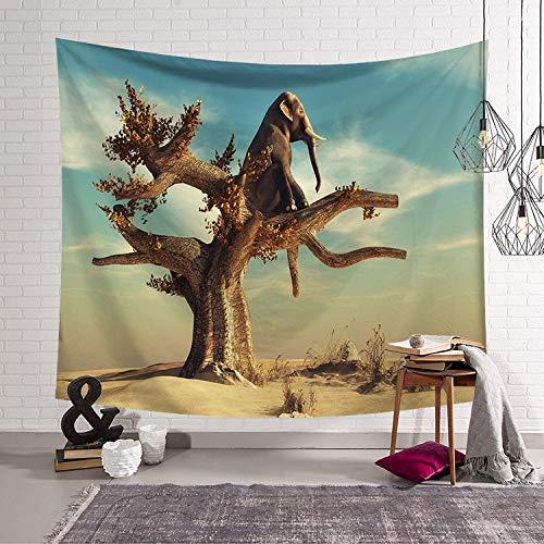 KHKJ Tapiz de Animales Montaje en Pared Tapiz de Elefante Arte de Pared Tapiz de león Tela Manta Decorativa Toalla de Playa A7 95x73cm