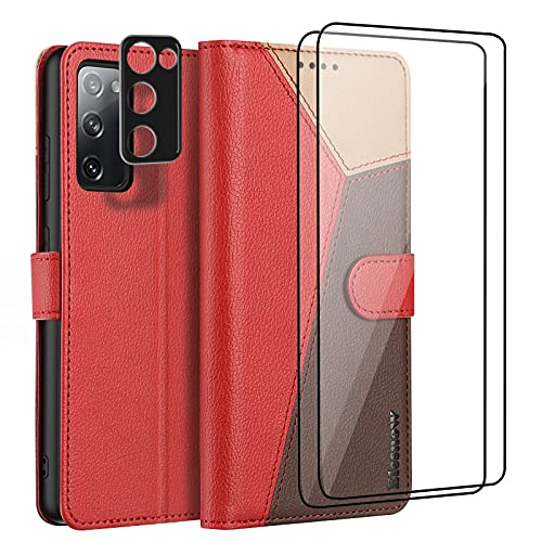 ELESNOW Funda Samsung Galaxy S20 FE con [Protector de Pantalla] [Templado Protector de Lente de cámara] Carcasa Magnética Tarjetero Tapa de Cuero para Samsung Galaxy S20 FE 4G / 5G (Rojo)