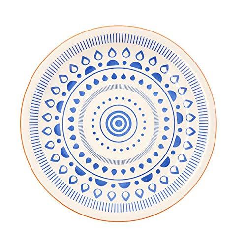 Vajilla Tribal Azul y Blanca, Accesorios de Cocina Originales y Modernas, Plato Llano, Hondo y de Postres. (PLATO LLANO)