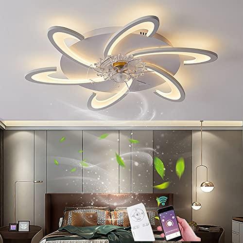Plafon LED Lampara Silencioso Ventiladores de techo con Luz Regulable con APP y Mando a Distancia Moderno Forma de la Flor Diseño blanco Plafón de Luces para Dormitorio Sala de Estar Cuarto Oficina