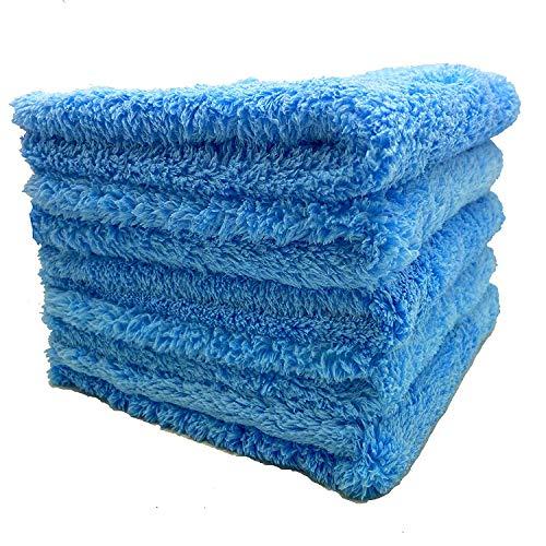 Kingsheep 6er Set Premium Flausch Randlos Mikrofasertücher, ultraweich für perfekte Lackpflege, anthrazit, 40 x 40 cm, 450GSM (Blau)