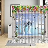 MNIAHGFQW Cortina de la duchaTradicional grécia Grego Design Cidade RUA Cortina de chuveiro Flores Janela decoração do banheiro Cortinas banho à Prova dwaterproof água com Ganchos
