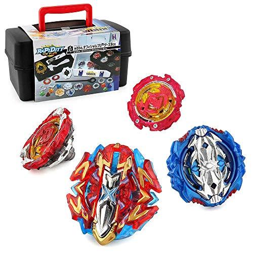 3T6B Peonzas Juguetes Conjunto con Estuche Portátil, 4 PCS Burst Spinning Tops 4D Set con Lanzador Regalo Mejor para los Niños