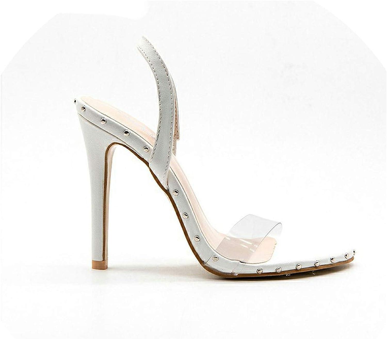Transparent High Heels Woman Vinyl Street Punk PVC Rivets Summer Sandals Women shoes