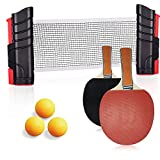 ACEBON Ping Pong Paddle Set with Retractable Table Tennis Net, Two Premium Paddles, Three Balls, and Storage Bag to Go Anywhere (Brown)