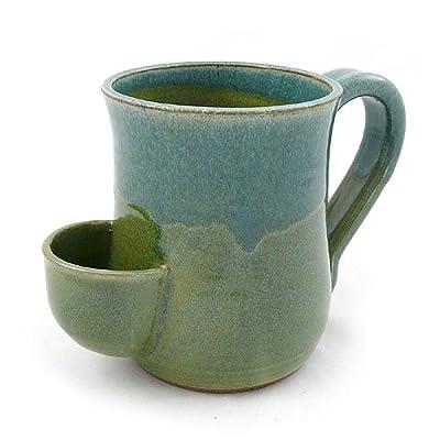 Tea Mug - Hand-Sculpted Stoneware with Tea Bag Holder, 16 oz, Blue/Green