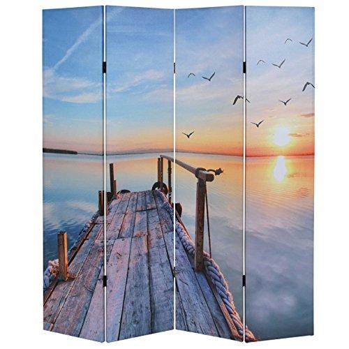 Mendler Foto-Paravent T234, Paravent Raumteiler Trennwand 180x160cm - Sonnenuntergang